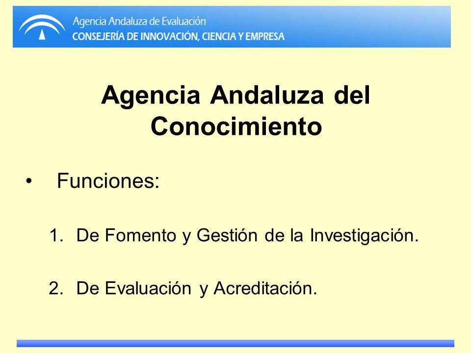 Agencia Andaluza del Conocimiento Funciones: 1.De Fomento y Gestión de la Investigación. 2.De Evaluación y Acreditación.