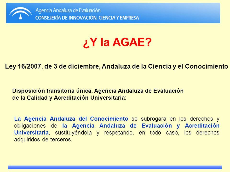 La Agencia Andaluza del Conocimiento se subrogará en los derechos y obligaciones de la Agencia Andaluza de Evaluación y Acreditación Universitaria, su