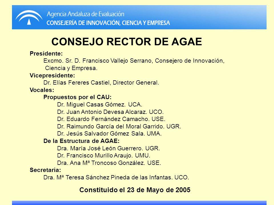 Presidente: Excmo. Sr. D. Francisco Vallejo Serrano, Consejero de Innovación, Ciencia y Empresa. Vicepresidente: Dr. Elías Fereres Castiel, Director G