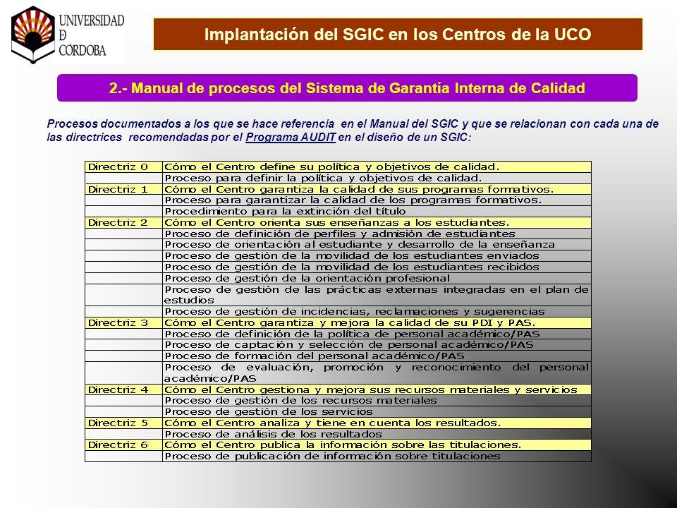 Implantación del SGIC en los Centros de la UCO 2.- Manual de procesos del Sistema de Garantía Interna de Calidad Procesos documentados a los que se hace referencia en el Manual del SGIC y que se relacionan con cada una de las directrices recomendadas por el Programa AUDIT en el diseño de un SGIC: