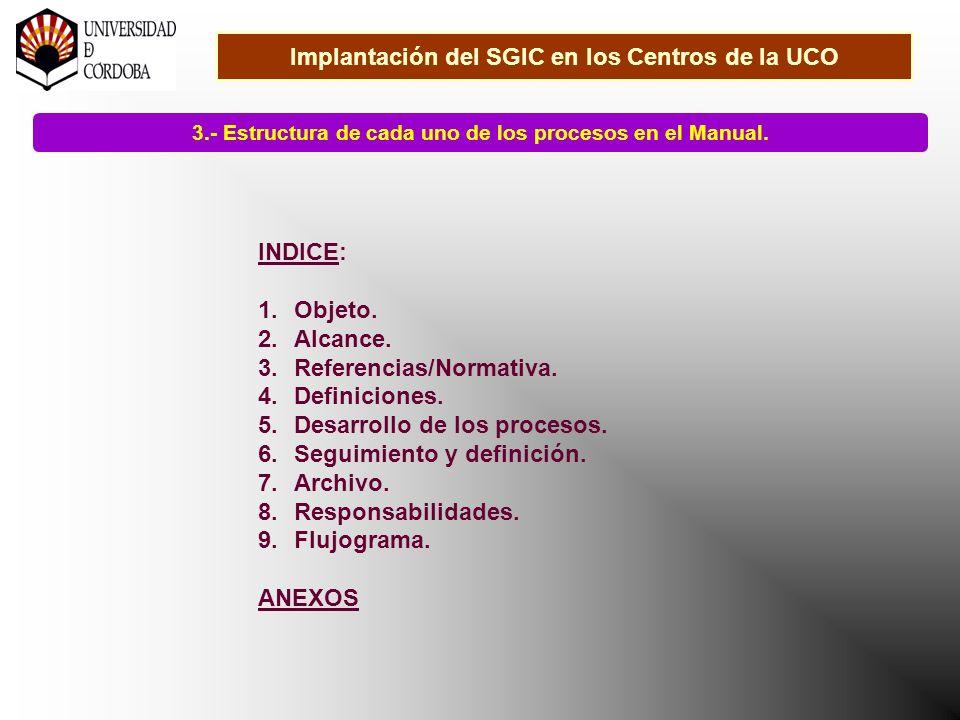 Implantación del SGIC en los Centros de la UCO 3.- Estructura de cada uno de los procesos en el Manual.