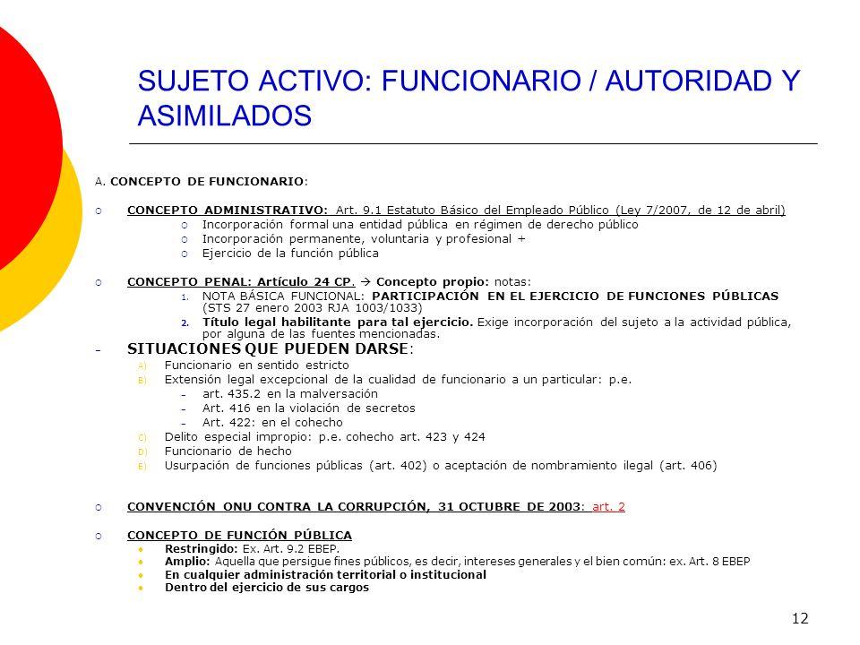 12 SUJETO ACTIVO: FUNCIONARIO / AUTORIDAD Y ASIMILADOS A. CONCEPTO DE FUNCIONARIO: CONCEPTO ADMINISTRATIVO: Art. 9.1 Estatuto Básico del Empleado Públ