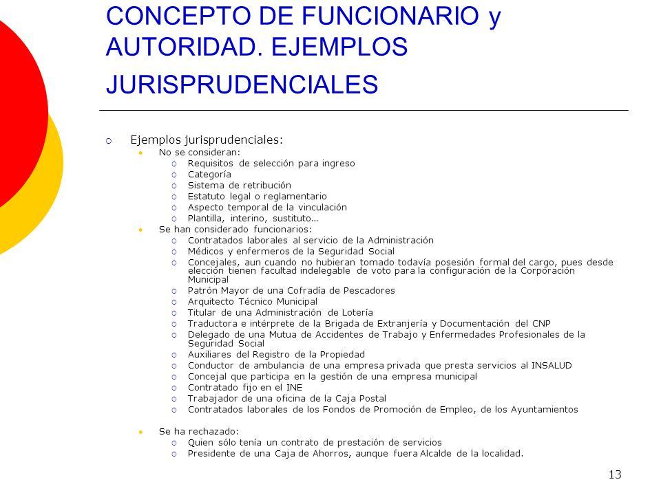 13 CONCEPTO DE FUNCIONARIO y AUTORIDAD. EJEMPLOS JURISPRUDENCIALES Ejemplos jurisprudenciales: No se consideran: Requisitos de selección para ingreso
