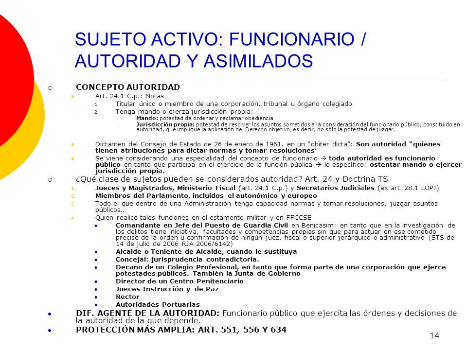14 SUJETO ACTIVO: FUNCIONARIO / AUTORIDAD Y ASIMILADOS CONCEPTO AUTORIDAD Art. 24.1 C.p.: Notas 1. Titular único o miembro de una corporación, tribuna