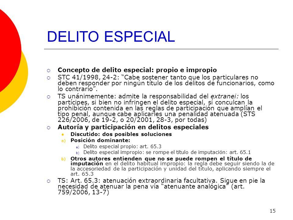 15 DELITO ESPECIAL Concepto de delito especial: propio e impropio STC 41/1998, 24-2: Cabe sostener tanto que los particulares no deben responder por n