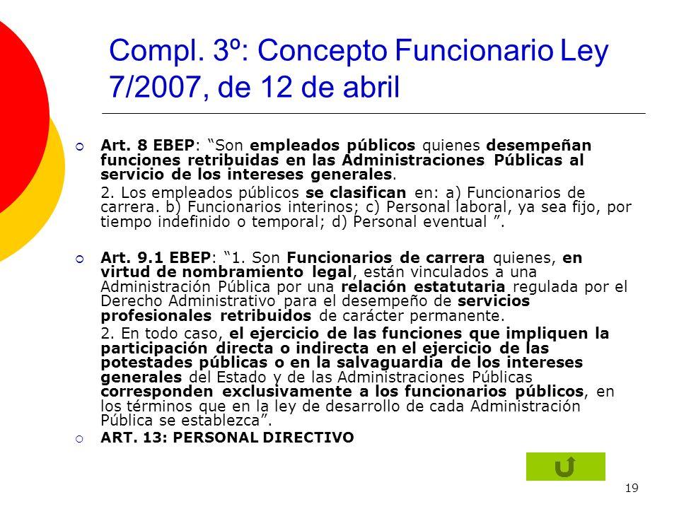 19 Compl. 3º: Concepto Funcionario Ley 7/2007, de 12 de abril Art. 8 EBEP: Son empleados públicos quienes desempeñan funciones retribuidas en las Admi