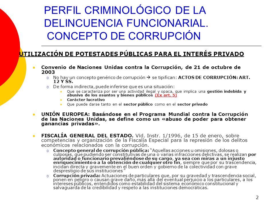 2 PERFIL CRIMINOLÓGICO DE LA DELINCUENCIA FUNCIONARIAL. CONCEPTO DE CORRUPCIÓN UTILIZACIÓN DE POTESTADES PÚBLICAS PARA EL INTERÉS PRIVADO Convenio de