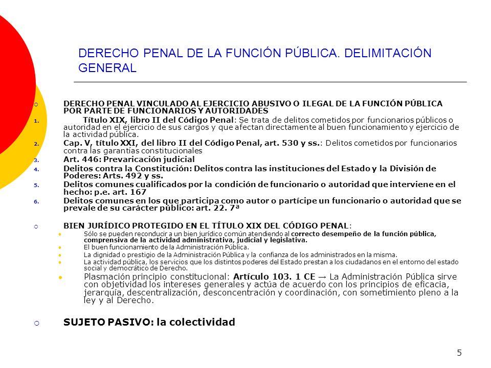 5 DERECHO PENAL DE LA FUNCIÓN PÚBLICA. DELIMITACIÓN GENERAL DERECHO PENAL VINCULADO AL EJERCICIO ABUSIVO O ILEGAL DE LA FUNCIÓN PÚBLICA POR PARTE DE F