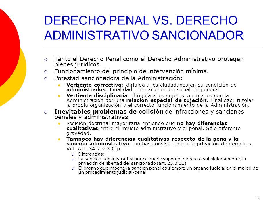 7 DERECHO PENAL VS. DERECHO ADMINISTRATIVO SANCIONADOR Tanto el Derecho Penal como el Derecho Administrativo protegen bienes jurídicos Funcionamiento