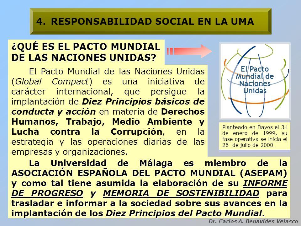 Dr. Carlos A. Benavides Velasco El Pacto Mundial de las Naciones Unidas (Global Compact) es una iniciativa de carácter internacional, que persigue la