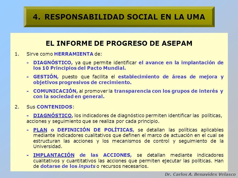 Dr. Carlos A. Benavides Velasco 4.RESPONSABILIDAD SOCIAL EN LA UMA EL INFORME DE PROGRESO DE ASEPAM 1.Sirve como HERRAMIENTA de: -DIAGNÓSTICO, ya que