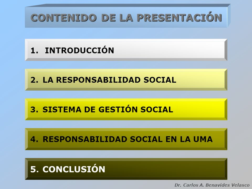 CONTENIDO DE LA PRESENTACIÓN 2.LA RESPONSABILIDAD SOCIAL 3.SISTEMA DE GESTIÓN SOCIAL 1.INTRODUCCIÓN 4.RESPONSABILIDAD SOCIAL EN LA UMA 5. CONCLUSIÓN D