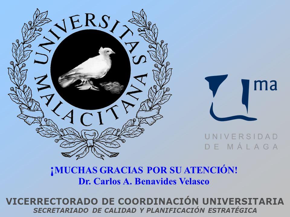 VICERRECTORADO DE COORDINACIÓN UNIVERSITARIA SECRETARIADO DE CALIDAD Y PLANIFICACIÓN ESTRATÉGICA ¡ MUCHAS GRACIAS POR SU ATENCIÓN! Dr. Carlos A. Benav