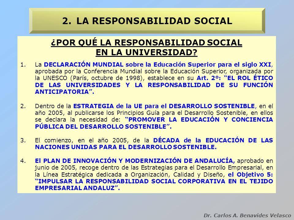 ¿POR QUÉ LA RESPONSABILIDAD SOCIAL EN LA UNIVERSIDAD? 2.LA RESPONSABILIDAD SOCIAL Dr. Carlos A. Benavides Velasco 1.La DECLARACIÓN MUNDIAL sobre la Ed