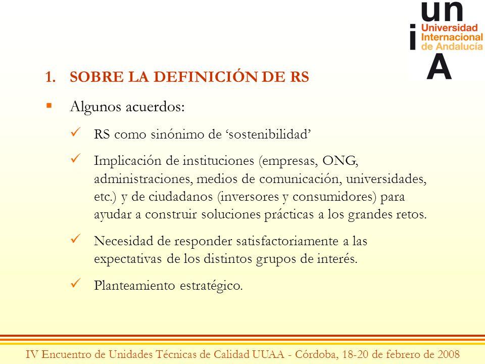 IV Encuentro de Unidades Técnicas de Calidad UUAA - Córdoba, 18-20 de febrero de 2008 1.SOBRE LA DEFINICIÓN DE RS Algunos acuerdos: RS como sinónimo d