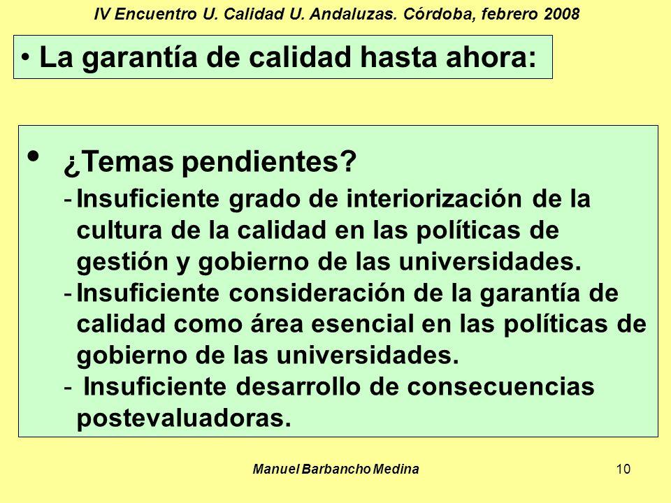 Manuel Barbancho Medina10 IV Encuentro U. Calidad U.
