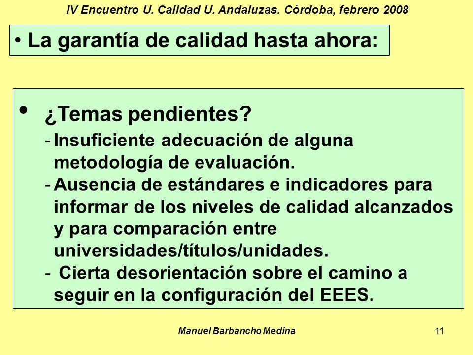 Manuel Barbancho Medina11 IV Encuentro U. Calidad U.