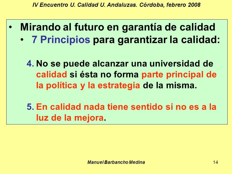Manuel Barbancho Medina14 IV Encuentro U. Calidad U.