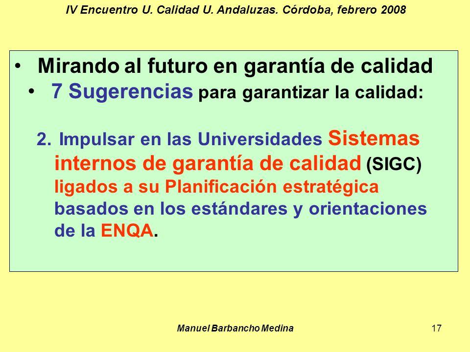 Manuel Barbancho Medina17 IV Encuentro U. Calidad U.