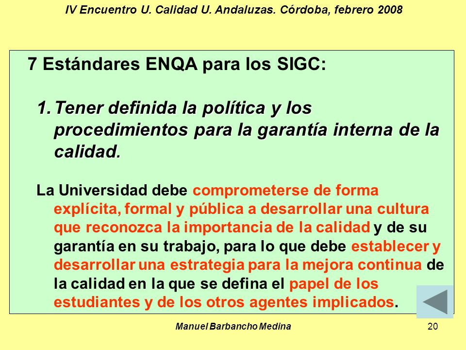 Manuel Barbancho Medina20 IV Encuentro U. Calidad U.