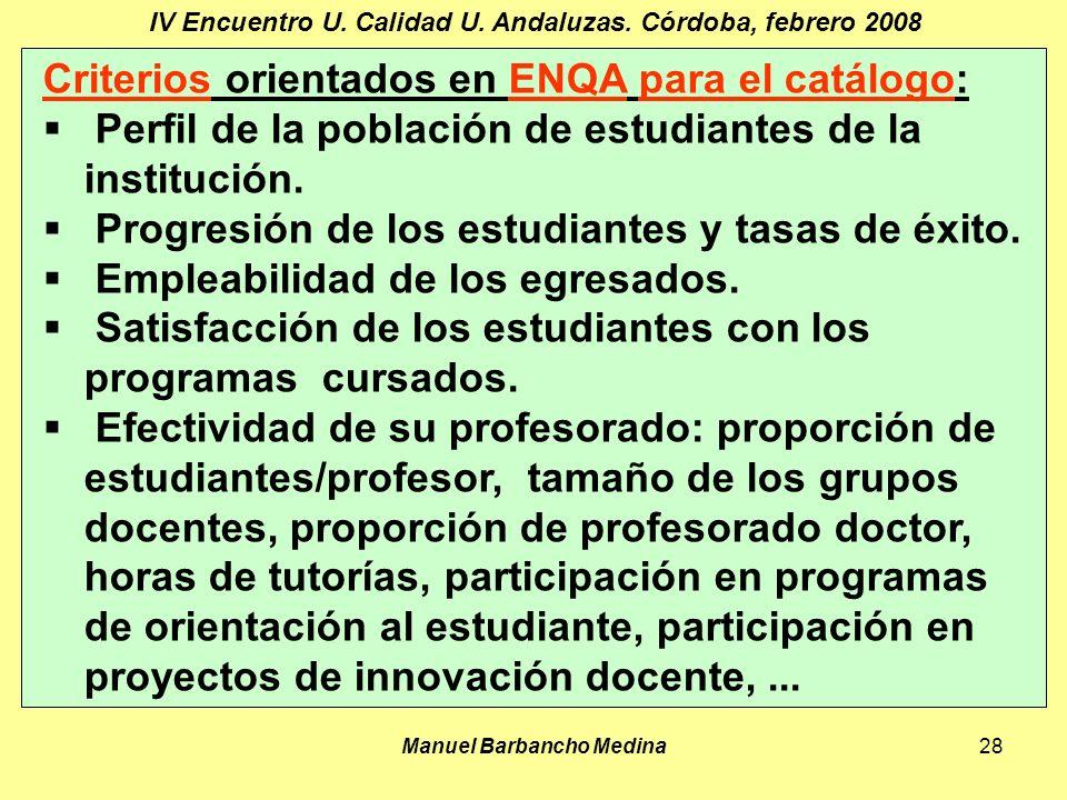 Manuel Barbancho Medina28 IV Encuentro U. Calidad U.