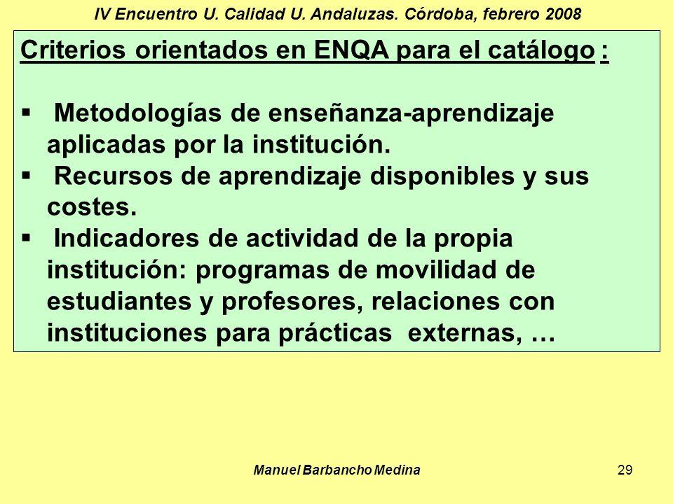 Manuel Barbancho Medina29 IV Encuentro U. Calidad U.