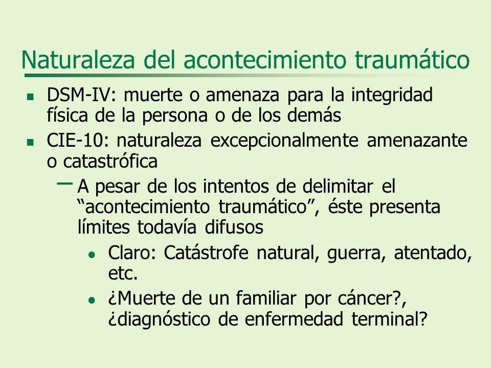 Naturaleza del acontecimiento traumático DSM-IV: muerte o amenaza para la integridad física de la persona o de los demás CIE-10: naturaleza excepciona