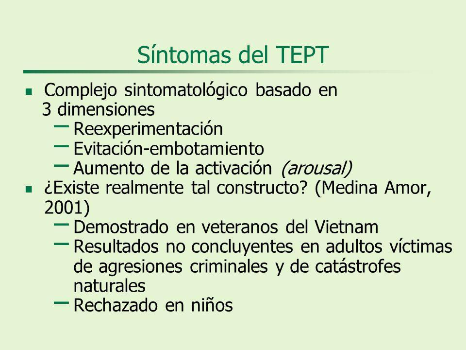 Síntomas del TEPT Complejo sintomatológico basado en 3 dimensiones – Reexperimentación – Evitación-embotamiento – Aumento de la activación (arousal) ¿Existe realmente tal constructo.