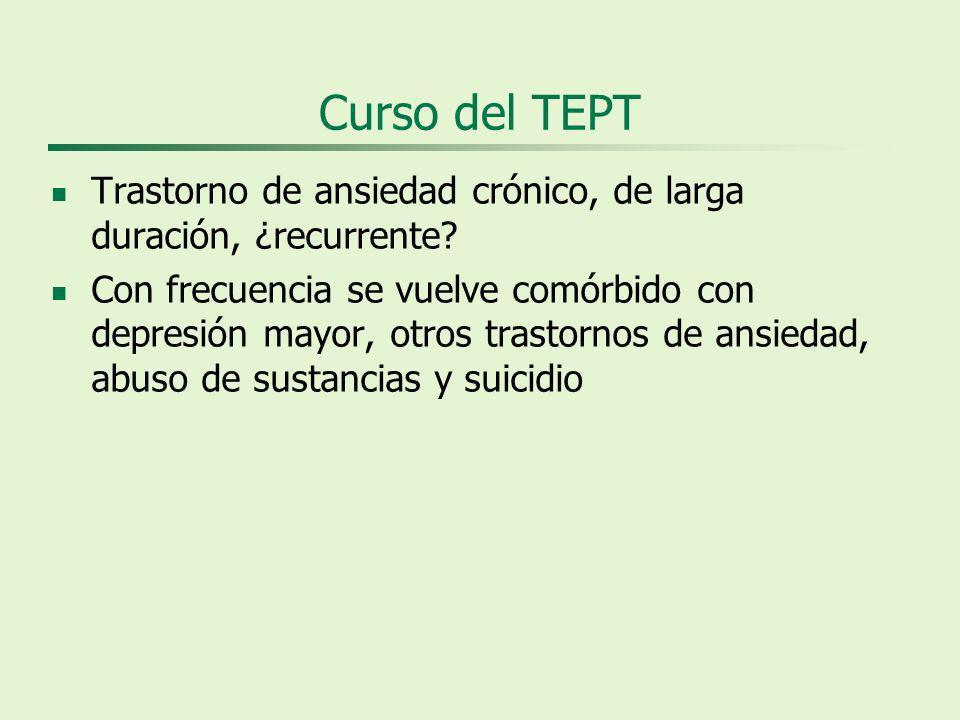 Curso del TEPT Trastorno de ansiedad crónico, de larga duración, ¿recurrente.