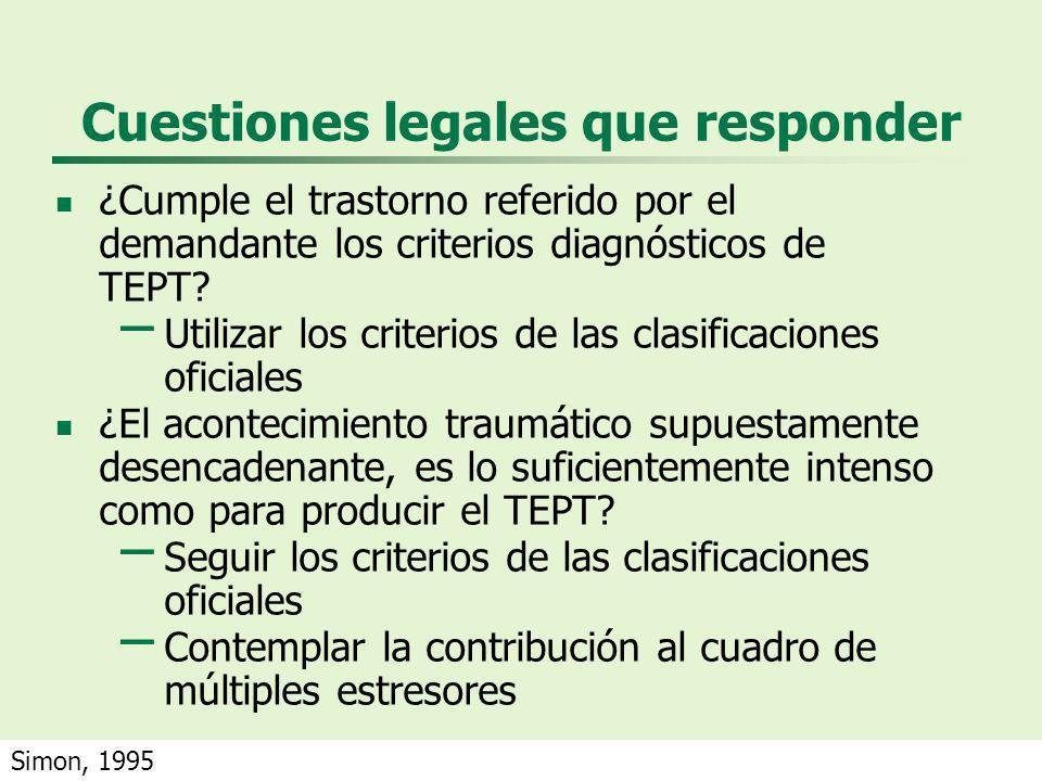 Cuestiones legales que responder ¿Cumple el trastorno referido por el demandante los criterios diagnósticos de TEPT? – Utilizar los criterios de las c