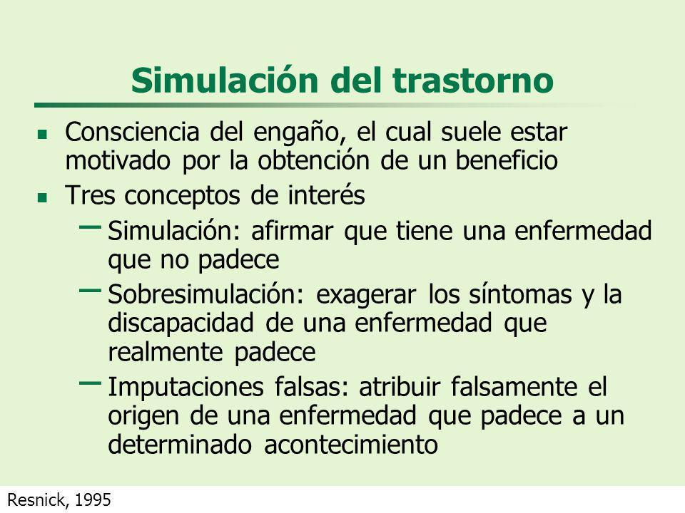 Simulación del trastorno Consciencia del engaño, el cual suele estar motivado por la obtención de un beneficio Tres conceptos de interés – Simulación: