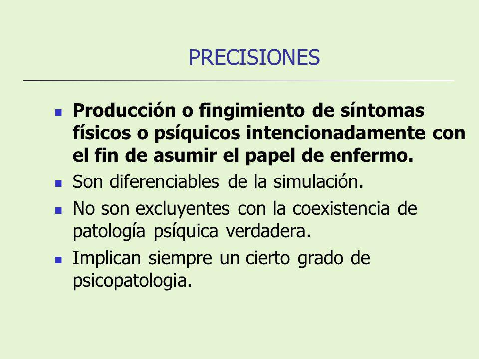 PRECISIONES Producción o fingimiento de síntomas físicos o psíquicos intencionadamente con el fin de asumir el papel de enfermo.