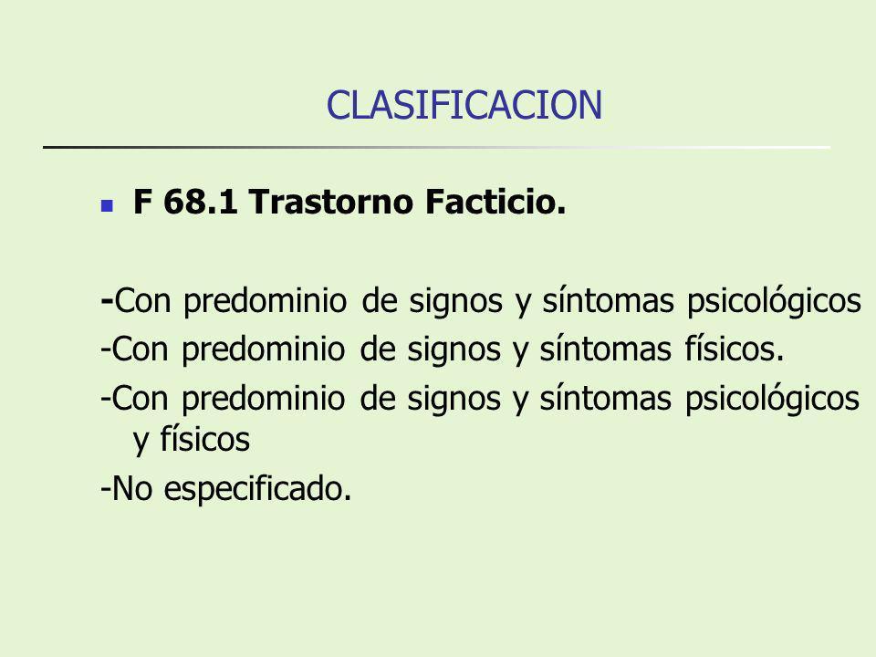 CLASIFICACION F 68.1 Trastorno Facticio. -Con predominio de signos y síntomas psicológicos -Con predominio de signos y síntomas físicos. -Con predomin