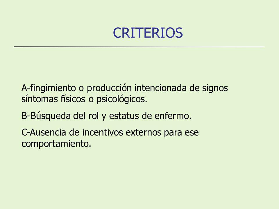 CRITERIOS A-fingimiento o producción intencionada de signos síntomas físicos o psicológicos. B-Búsqueda del rol y estatus de enfermo. C-Ausencia de in