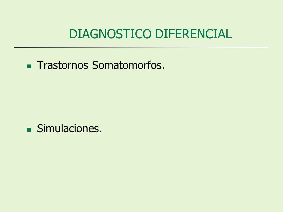 DIAGNOSTICO DIFERENCIAL Trastornos Somatomorfos. Simulaciones.