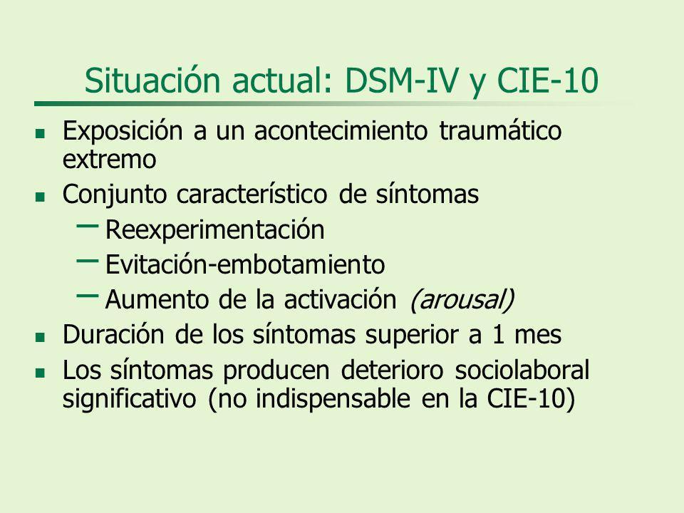 Situación actual: DSM-IV y CIE-10 Exposición a un acontecimiento traumático extremo Conjunto característico de síntomas – Reexperimentación – Evitación-embotamiento – Aumento de la activación (arousal) Duración de los síntomas superior a 1 mes Los síntomas producen deterioro sociolaboral significativo (no indispensable en la CIE-10)