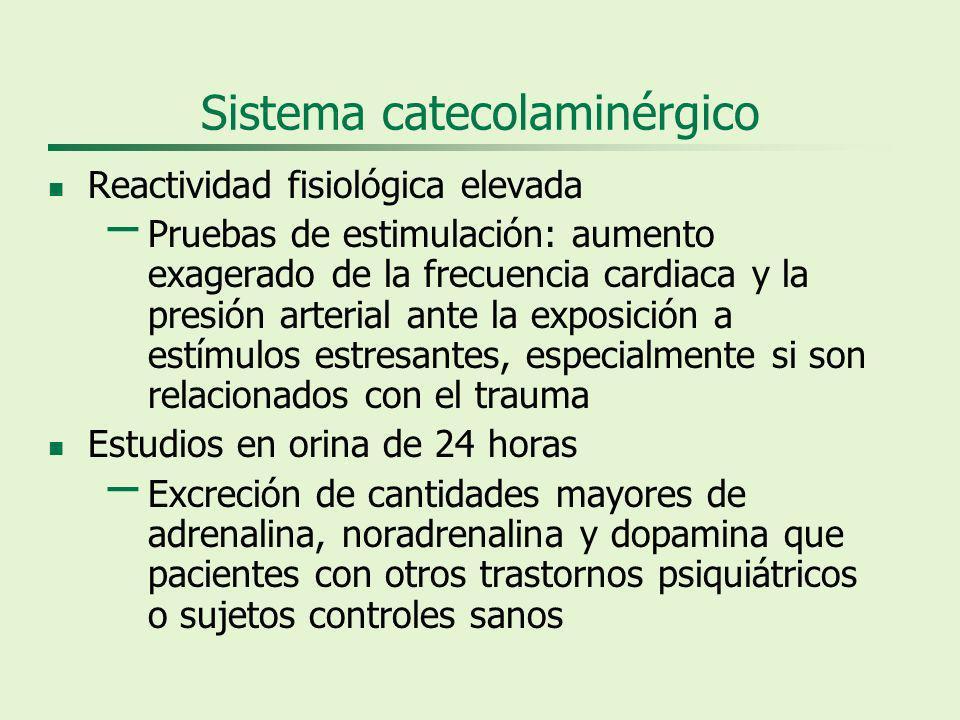 Sistema catecolaminérgico Reactividad fisiológica elevada – Pruebas de estimulación: aumento exagerado de la frecuencia cardiaca y la presión arterial