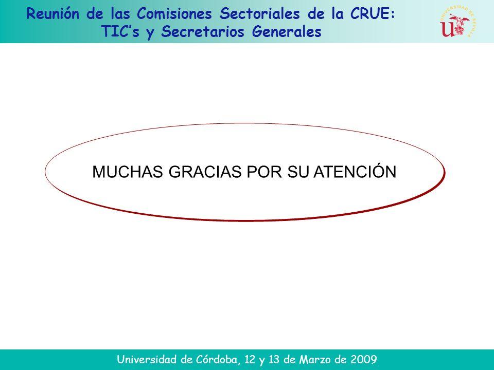 Reunión de las Comisiones Sectoriales de la CRUE: TICs y Secretarios Generales Universidad de Córdoba, 12 y 13 de Marzo de 2009 MUCHAS GRACIAS POR SU ATENCIÓN