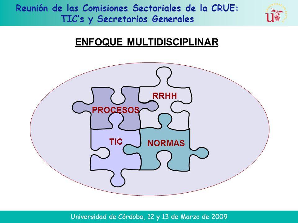 Reunión de las Comisiones Sectoriales de la CRUE: TICs y Secretarios Generales Universidad de Córdoba, 12 y 13 de Marzo de 2009 TIC NORMAS PROCESOS RRHH ENFOQUE MULTIDISCIPLINAR