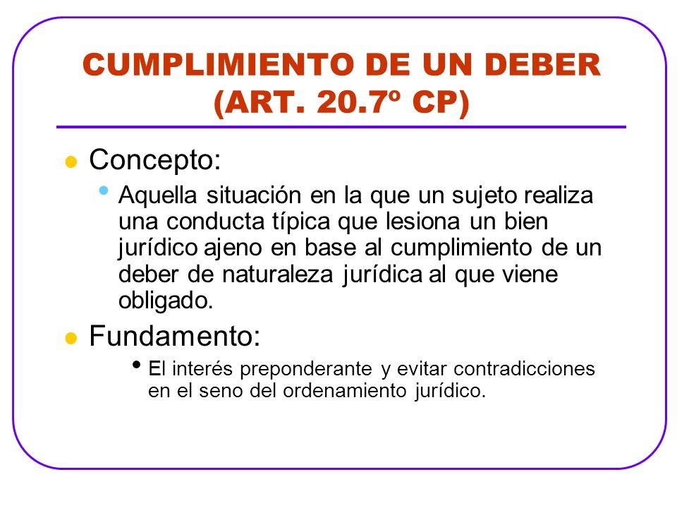 CUMPLIMIENTO DE UN DEBER (ART. 20.7º CP) Concepto: Aquella situación en la que un sujeto realiza una conducta típica que lesiona un bien jurídico ajen