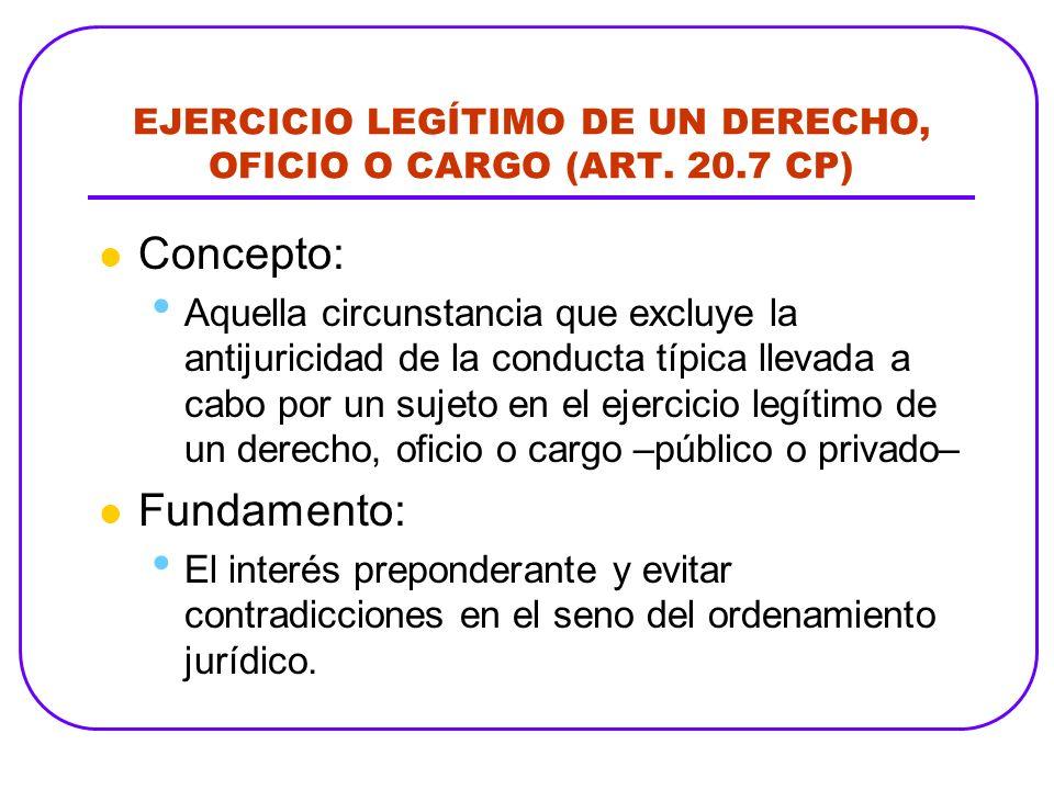 EJERCICIO LEGÍTIMO DE UN DERECHO, OFICIO O CARGO (ART. 20.7 CP) Concepto: Aquella circunstancia que excluye la antijuricidad de la conducta típica lle