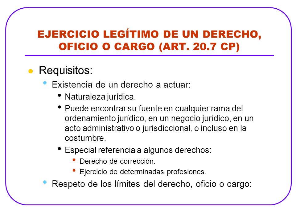EJERCICIO LEGÍTIMO DE UN DERECHO, OFICIO O CARGO (ART. 20.7 CP) Requisitos: Existencia de un derecho a actuar: Naturaleza jurídica. Puede encontrar su