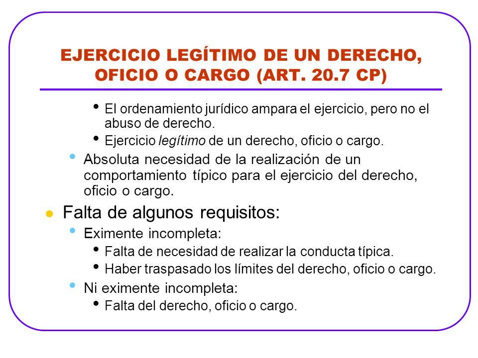 EJERCICIO LEGÍTIMO DE UN DERECHO, OFICIO O CARGO (ART. 20.7 CP) El ordenamiento jurídico ampara el ejercicio, pero no el abuso de derecho. Ejercicio l