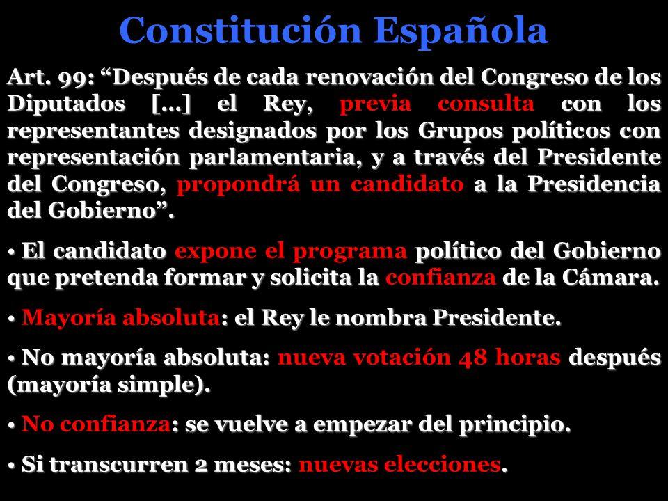 Constitución Española Art. 99: Después de cada renovación del Congreso de los Diputados […] el Rey, con los representantes designados por los Grupos p