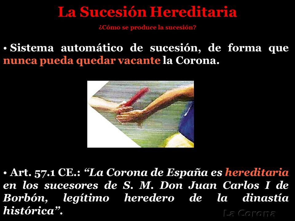 La Sucesión Hereditaria ¿Cómo se produce la sucesión? Sistema automático de sucesión, de forma que nunca pueda quedar vacante la Corona. Art. 57.1 CE.