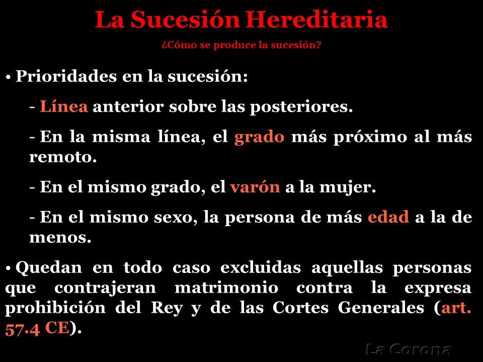 La Sucesión Hereditaria ¿Cómo se produce la sucesión? Prioridades en la sucesión: - Línea anterior sobre las posteriores. - En la misma línea, el grad
