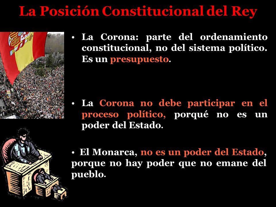 La Posición Constitucional del Rey La Corona: parte del ordenamiento constitucional, no del sistema político. Es un presupuesto. La Corona no debe par