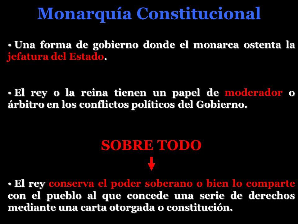 Monarquía Constitucional Una forma de gobierno donde el monarca ostenta la. Una forma de gobierno donde el monarca ostenta la jefatura del Estado. El