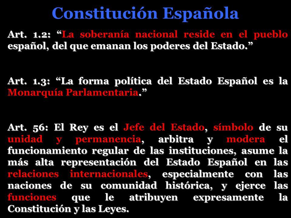Constitución Española Art. 1.2: español, del que emanan los poderes del Estado. Art. 1.2: La soberanía nacional reside en el pueblo español, del que e