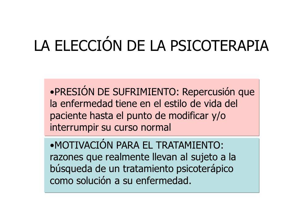 LA ELECCIÓN DE LA PSICOTERAPIA PRESIÓN DE SUFRIMIENTO: Repercusión que la enfermedad tiene en el estilo de vida del paciente hasta el punto de modific